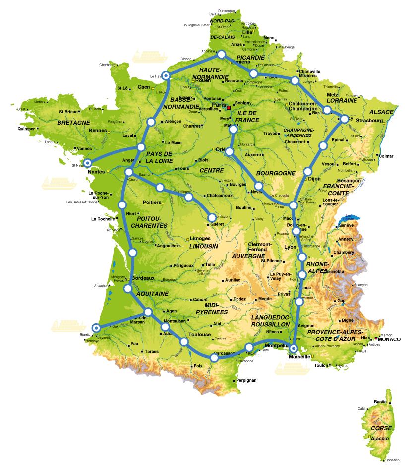 carte du réseau canaux conteneurs en France